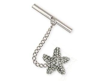 Solid Starfish Tie Tack Jewelry Sterling Silver STF1-TT
