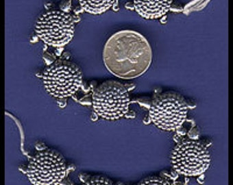 Sterling Silver Turtle Bead 15mm x 22mm  (.925)