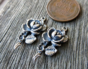 SALE: Sterling Silver Rose Charms (lot of 2) (.925) -Destash