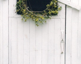 Photo Print - White Washed Shed Door, Yellow Forsythia Wreath, Shabby Chic, Country Scene