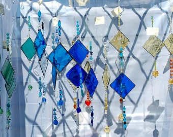 Hanging Suncatchers Stained Glass and Glass Beads Choice of Colors and Shapes Made to Order Custom Stained Glass Sun catcher Garden Art