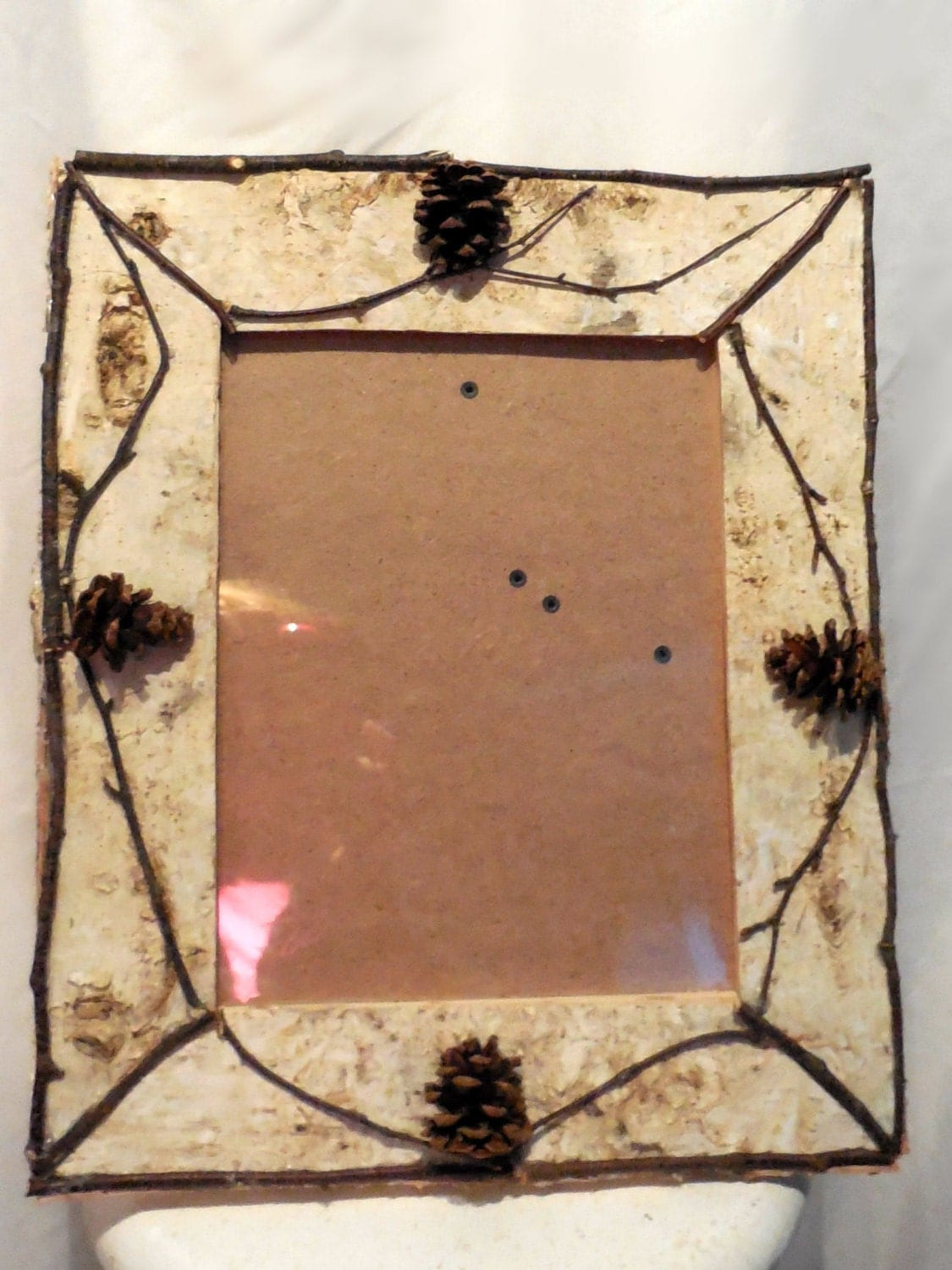 Birch bark picture frame hand crafted by