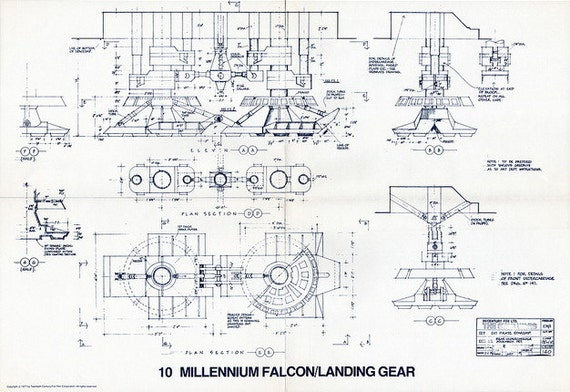 1977 millennium falcon landing gear star wars vintage for What size paper are blueprints printed on