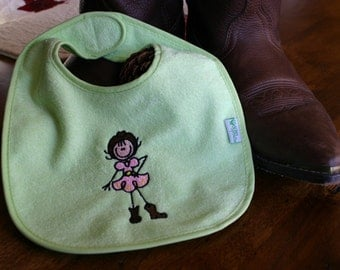 Soft Lime Green Western Embroidered Baby Cowgirl Bib - Waterproof and PVC free