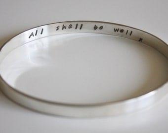 Solid Silver Secret Message Bangle