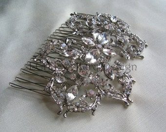 Bridal Hair Comb  - Handmade with Clear Crystal Embellishments