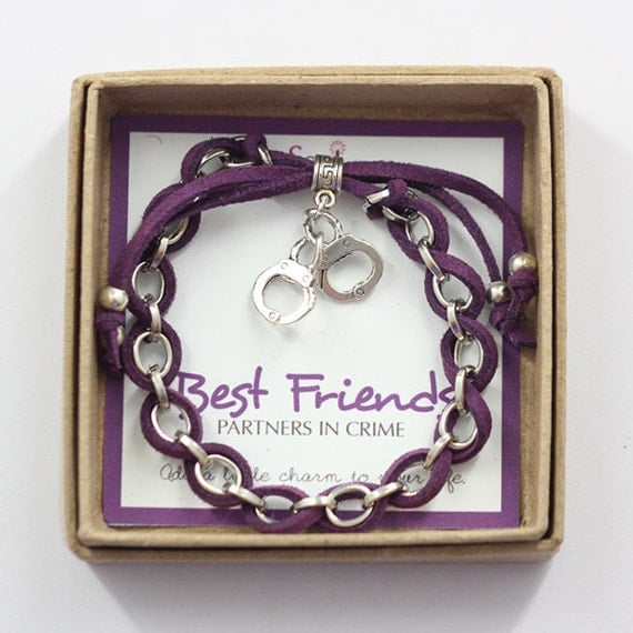 Best Friends Partners in Crime, Purple cord and Silver Handcuffs Charm Friendship Bracelet in Gift Box
