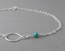 Infinity Beaded Sterling Silver Anklet With Natural Turquoise- Summer Jewellery - Semi Precious Anklet - Sterling Silver Jewellery