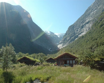 Norse Cabins in front of Briksdalsbreen Glacier Photo