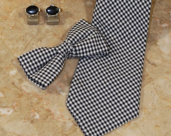 This listing is for the Gingham Black and White Bow Tie.