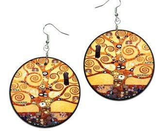 Tree of Life - Gustav Klimt - handmade earrings - decoupage