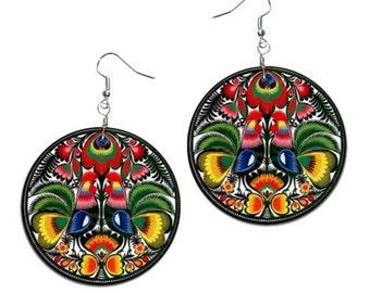 Folk - handmade earrings - decoupage