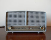 Vintage Gray Blue RCA Victor 8-X-8L Twin Speakers Tube Table Top Radio( Tested Working)