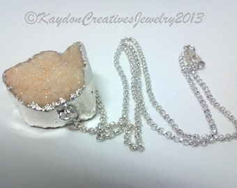 Large Sterling Silver and Orange Peach Crystal Druzy Agate Pendant Necklace