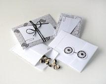 DIY printable envelope with memo note tag, floral, swirl, black white, give-away, favor, storage, packaging, 4.pdf sheets, die cut,