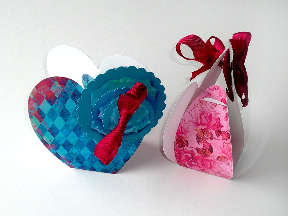 shabby bordeaux red turquoise blue heart boxes diy gift. Black Bedroom Furniture Sets. Home Design Ideas