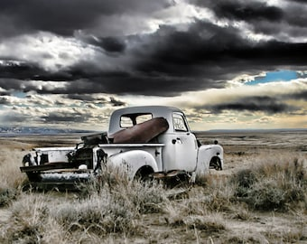 abandoned vintage truck Wyoming sunset white fine art photography
