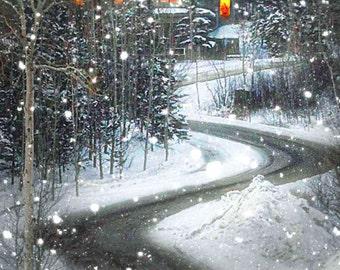 Teton Village Jackson Hole Wyoming New Year's Eve snow street 10x20 fine art