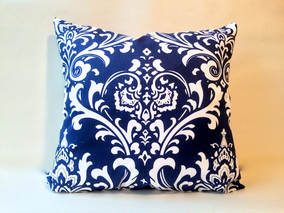 navy blue and white ozborne damask euro sham european pillow. Black Bedroom Furniture Sets. Home Design Ideas
