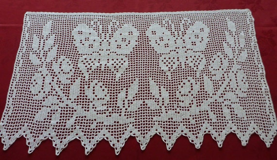 Items Similar To White Cotton Crocheted Window Curtain