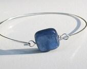 Blue Kyanite Semiprecious Stone Bangle. Minimalist Bangle. Blue Bangle.