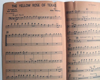 Sheet Music-The Yellow Rose Of Texas, 1st Trombone