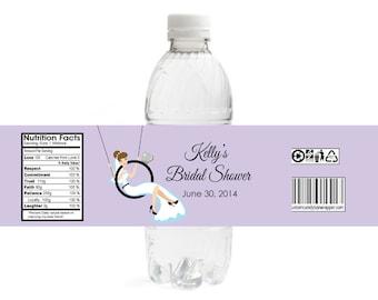 Bride Swinging on Ring Bridal Shower Water Bottle Labels (Set of 10)