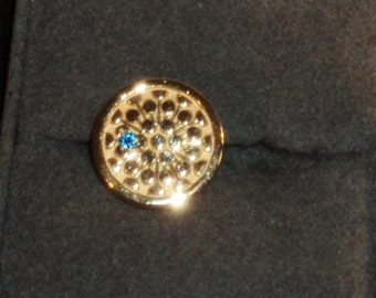 10K Yellow Gold Pin/Tie Tack with Blue Sapphire Stone