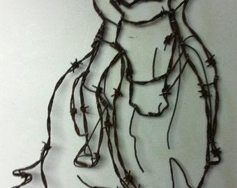 Horse sculpture, Wire design, Barbed Barbwire art, Home decor