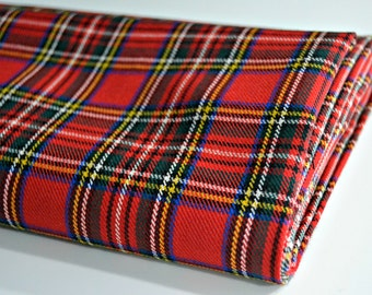 Wool Fabric Tartan - Red, Yellow, Blue and Black