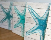 Painted starfish 12x12 - reclaimed wood from Sandy homes