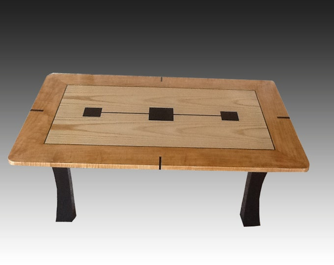 Coffee Table - Ash, Curly Maple,with Gabon Ebony Inlay