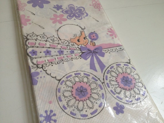 vintage purple pink baby shower table cloth cover by hallmark extra