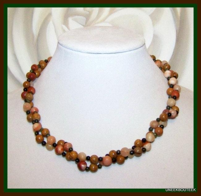 Torsade Necklace: Red Malachite & Jasper 2 Strand Torsade Necklace With Green