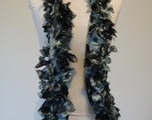 frayed and ruffled fashion scarf made from marbled fashion fabric