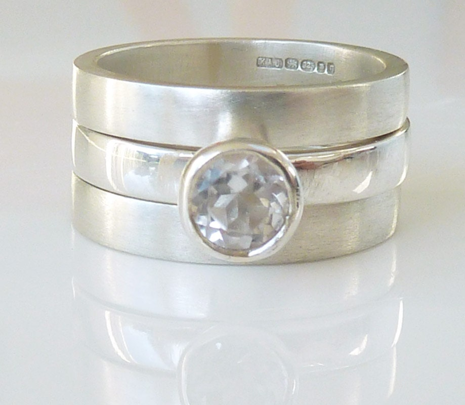 Triple Band Bands: White Topaz Triple Wedding Ring Set Engagement Ring And Two