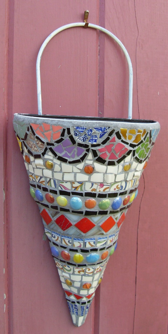 Large Mosaic Art Wall Pocket 12 Tall Cone Vase Planter