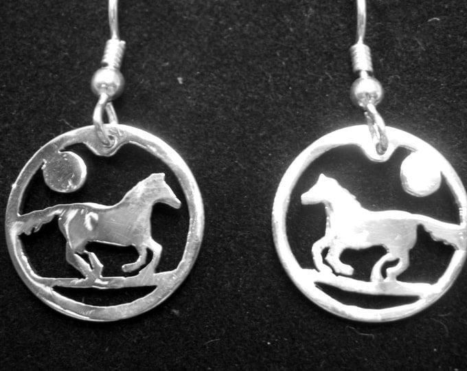 Horse earrings dime size
