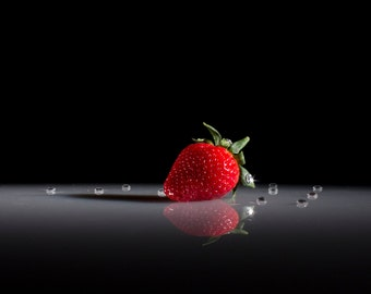 """Strawberry on Stage- 5""""x7"""" digital photo of Strawberry with dramatic lighting and jewels"""