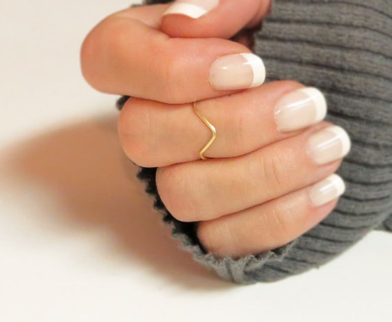 Knuckle Ring Chevron in Gold or Silver, Stacking Midi Dainty Ring Handmade