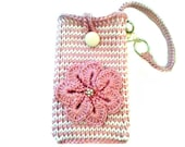 Mauve & White Striped Phone Pouch with Strap, Samsung Galaxy s3 Note 2 Wristlet by Knit Blossom