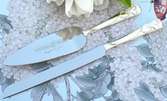 Wedding Cake Knife And Server Set 2 PC Custom Engraved