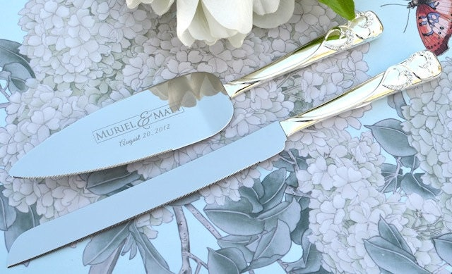 personalized wedding cake knife and server set 2 pc custom. Black Bedroom Furniture Sets. Home Design Ideas
