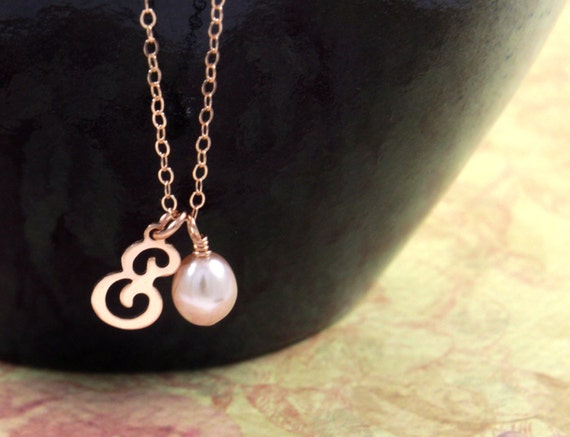 Tiny Rose Gold Letter Necklace - Rose Gold Filled Initial with Freshwater Pearl on Rose Gold Filled Chain