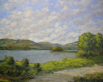 Original painting oil landscape, Impressionist, view, lake, blue sky, clouds, sunrise, Italy, Tuscany, Sessa