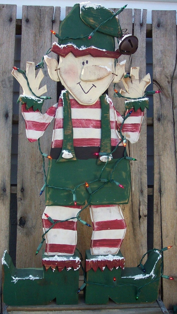 Items similar to santa 39 s christmas elf wood craft pattern for Wood crafts to make for christmas