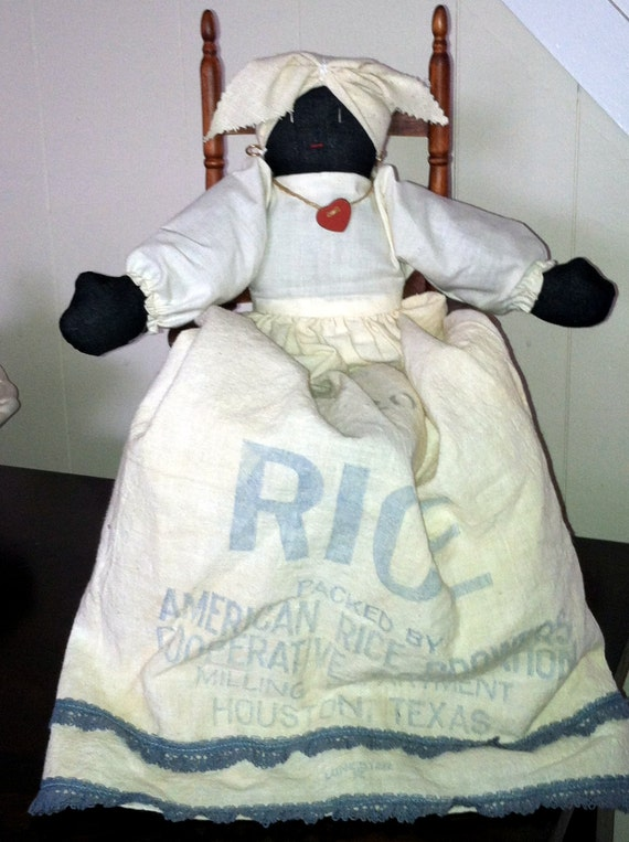 Rice Sack Black Folk Art Doll by SassyGrannysAttic on Etsy