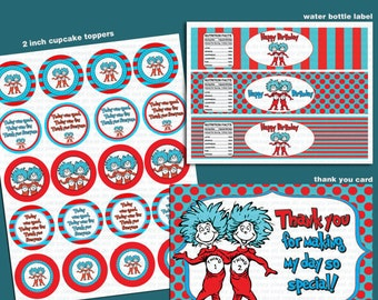 INSTANT DL- Thing 1 Thing 2 - Birthday Party Package - Printable set (NON Personalized)