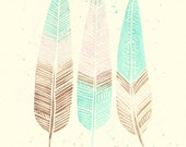 Mint Pink and Chocolate Splash Modern Boho Feather Watercolour Painting - Original Modern Art - Home Decor - FeatherAndSixpence