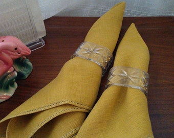 Saffron Mustard Yellow Linen Napkins - Set of Four